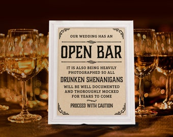 Wedding open bar sign. Rustic wedding decor. Wedding reception. Kraft paper printable wedding bar decorations. 16x20, 8x10, 5x7 prints