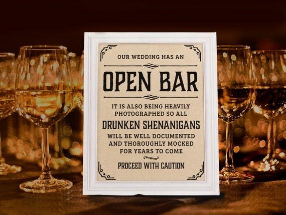 Wedding open bar sign rustic decor
