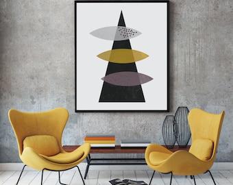 Geometric wall art, abstract art, geometric poster, vintage art prints, watercolor art, modern art print, scandinavian print, textured art