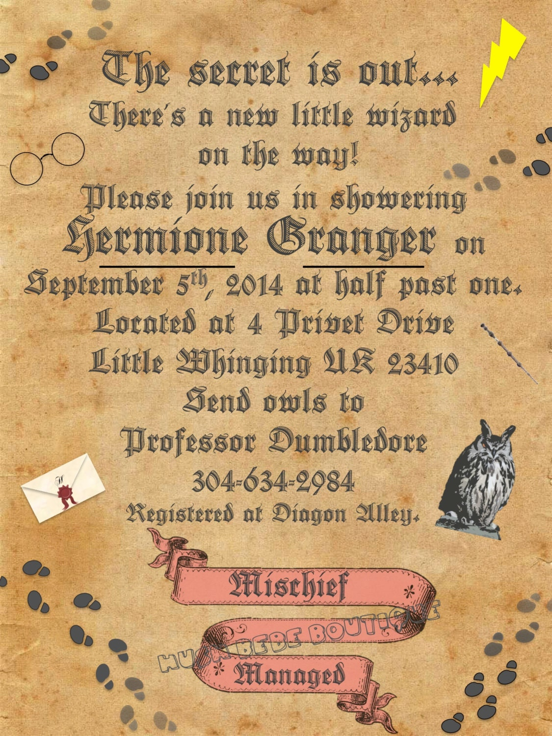 Personalized Harry Potter Baby Shower Set Printable Digital