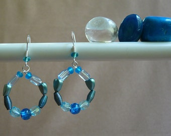 Mini Beaded Hoop Earrings (in Shades of Blue and Aqua)