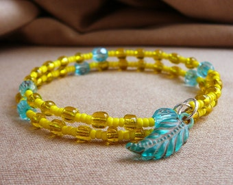 Beaded Memory Wire Bracelet with Feather Charm (Yellow and Blue/ Aqua)