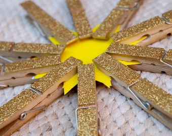 10 Gold Glitter Clothespins, wishing tree clips 4'' large wooden clothespins, Banner Decoration, Baby shower Gift Wrapping, Name Card Holder
