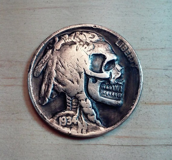 Hobo Nickel Real Skull Zombie 1934 Buffalo Coin Hand Carved by