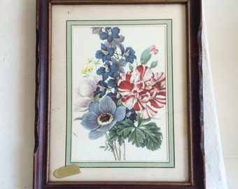 Unusual Vintage 2 sided framed Botanical with mirror back