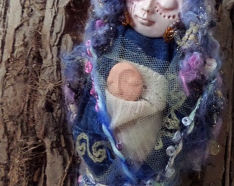 Abundance, Prosperity and Protection. Moon Goddess, assemblage art doll OOAK