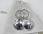 Stamped Drop Earrings  - Asymmetrical Sterling Silver Earrings