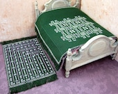 Miniature embroidered dollhouse bedspread and matching rug, 1/12 scale green dollhouse bedroom decor