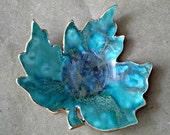 Ceramic Leaf  Trinket Dish Malachite green with gold edging