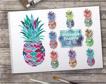 Digital clip art | Watercolor pineapples | Set of 8 rainbow pineapples | Multi color pineapple clip art | Watercolor clip art | rainbow art
