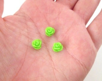 12 lime green 7.5mm rose cabochons