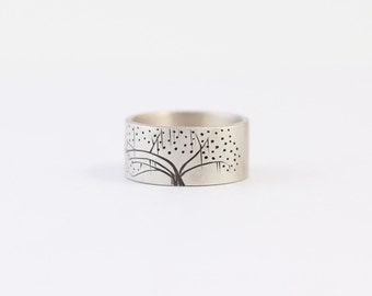 Ready to Ship Unique Engagement Ring or Wedding Band in Sterling Silver with an Oak Tree #26
