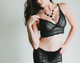 SALE Black Lace Bra - Sheer Graphic 'Rosa' Style Bra - Women's Lingerie - Custom Fit Made To Order