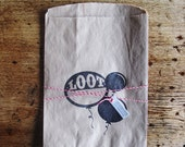 "Letterpress Paper Lootbag • Set of 4 Kraft Bags • Black Ink • Birthday Party • Children • Size: 7"" x 10"" • inkpetals"