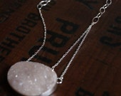 Stardust, A natural drusy and silver necklace RESERVED