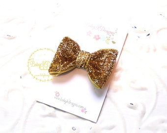 """Girls Gold Glitter Sparkle 2"""" Bow Baby Clip Newborn Snap Clips Fancy Toddler Dress Up Bow 