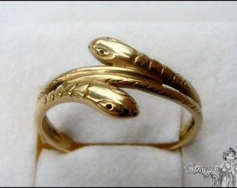 Antique French 18K Gold Victorian Wedding Ring - Two Entwined Snakes - Eternity & Everlasting Love - Approx. Size 9