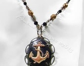 Black and Bronze Painted Anchor Cameo Mixed Metal Necklace,18 inches, Rusty Black and Ebony Finishes