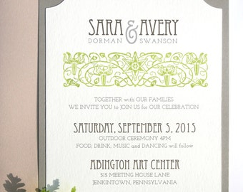 Garden Wedding Invitations, Grey and Green, Custom Invites, Arts and Crafts Style, Moss Green, Weddings, William Morris