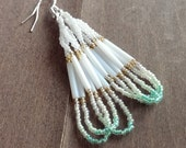 Native American beaded earrings - mint gold & white beaded earrings - beadwork earrings