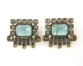 Large Chunky Aqua Rhinestone Earring Stud Findings Seafoam Gray Antique Gold Posts with Loop Statement Jewelry |LG8-1|2