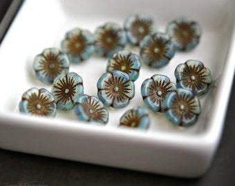 Little Periwinkle - Premium Czech Glass Beads, Aqua Opal, Brown Finish, Flower Buttons 12x7mm - Pc 10