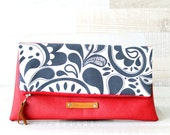 Clutch, Faux Leather, Red, Floral Grey, Clutch Purse, Fold over, Leather clutch, foldover clutch, big clutch, fold-over zippered clutch