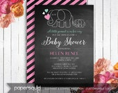 Elephant Baby Shower Invitation, Chalkboard & stripes Background, Customizable Colors - Digital Printable File - Item 162B by paper squid