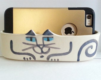 cat pottery: desk phone dock caddy postcard holder organizer white blue Siamese sits flat or wall hanging