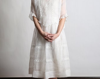 SALE- 1910s Cotton Dress SMALL