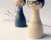 Bride and groom cake topper custom Wedding - Personalized - Wooden peg art doll hand painted FREE SHIPPING
