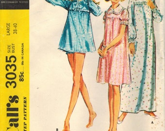 1970s McCall's 3035 Vintage Sewing Pattern Misses Nightgown, Shortie Nightgown & Panties Size Small, Size Medium, Size Large