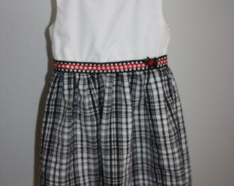 Girls Tartan Black and White Dress with Scotty Dog Button Size Three