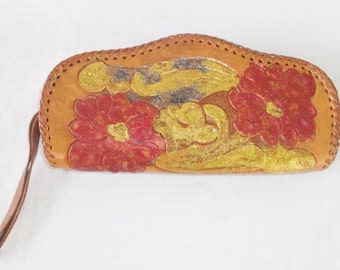 1950s Vintage Tooled Leather Clutch Purse with Glitter by Clifton's