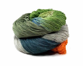 300 Yards Hand Dyed Cotton Crochet Thread Size 10 3 Ply Specialty Thread 3 Shades of Green Orange Grey and Blue Thread Fine Cotton Yarn