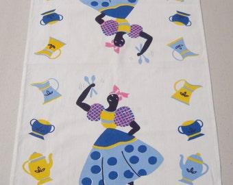 Vintage Black Americana Towel Mammy Dances w Spoons