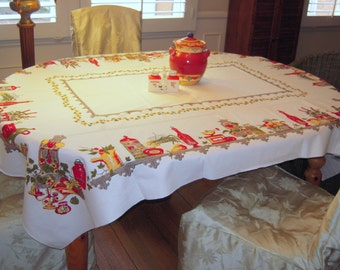 Vintage Tablecloth Old Time Kitchen Shelves Coffee Grinders Milk Jugs MWT