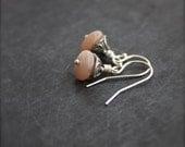 Light Pink Peach Moonstone Dangle Drop Earrings Small Stone Gemstone Sterling Silver Flourish Jewelry