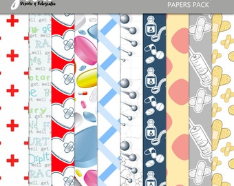 MEDIC Scrapbook Papers, Instant Download, 10 Digital Paper Pack. 12'x12' pattern prints, Background
