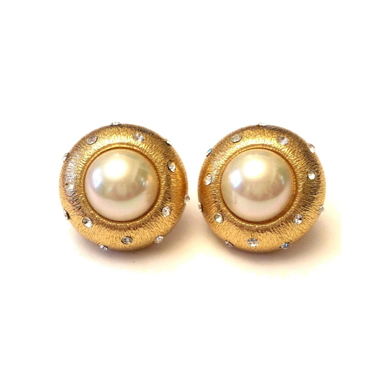 Christian Dior Earrings Large Pearl Amp Rhinestone Earrings