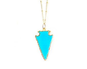 Gold Chain Gemstone Necklace - Magnesite - Turquoise, Gold - The Bohemian: Satellite Arrowhead
