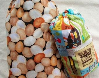 Reusable Bulk Bin Bags - Eco Friendly Cotton Produce Market Bags - House Warming Gift -  Set of 2