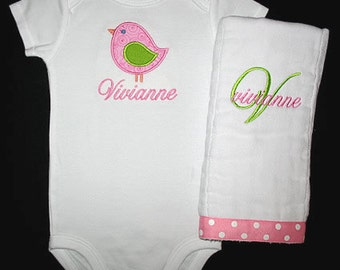 Custom Personalized Applique BIRD and NAME Bodysuit and Burp Cloth Set - Pink and Lime Green