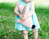 Bunny Plush Toy in Pastel Peach with Black and White Polkadots - Organic Cotton Fabric