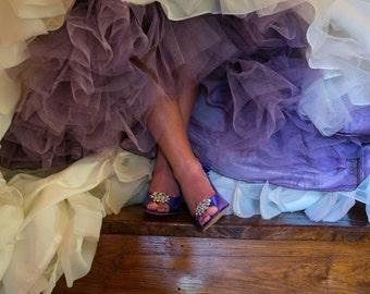 Hand Dyed Purple Tulle Skirt Crinoline - Aline, Extra Full, Mermaid --- Purple, Pink, Blue, Yellow, Green, Orange