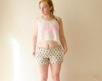 Lace Top, Boho Asymmetrical Hem Summer Tank Top in Cream Color, White Hi Low Hem Cotton Top