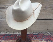 Vintage RESISTOL Cowboy hat sz 7 Tan 1960s 1970s as found Distressed Biker rocker Festival work 10 X  Beaver As-Is