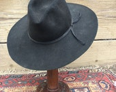 Vintage RESISTOL Cowboy hat sz 7 Black 1960s 1970s as found Distressed Biker rocker Festival work XXXX  Beaver As-Is