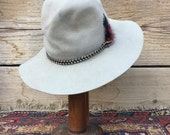 Vintage Cowboy hat By Bollman Range Rider sz 7 1/8 As Found Tan good quality Distressed as-is Macrame band rocker Festival hillbilly Gypsy