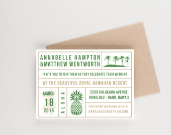 Tropical Destination Save The Date, Pineapple and Palm Trees, Wedding Invitation, Bridal Shower, Wedding Announcement